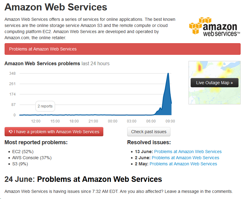 Amazon Web Services Having Outages This Morning